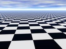 Abstracte oneindige schaakvloer en bewolkte hemel Stock Foto
