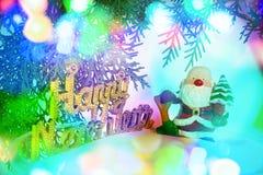 Abstracte onscherpe achtergrond met de Kerstman en nieuwe jaarteksten stock foto