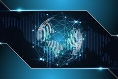 Abstracte ontmoete de kaartpunt technologie van de achtergrondconcepten digitale wereld Stock Afbeeldingen