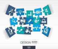 Abstracte ontwerpachtergrond met verbonden kleurenraadsels, geïntegreerde vlakke pictogrammen 3d infographic concept met technolo stock illustratie