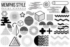 Abstracte ontwerpelementen geplaatst Memphis Stock Afbeelding