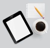 Abstracte ontwerptablet, koffie, potlood, blanco pagina Royalty-vrije Stock Afbeeldingen