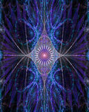 Abstracte oog-als bloem met decoratieve vleugels aan de kanten in roze glanzen, blauw, purper Royalty-vrije Stock Foto's