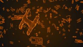 Abstracte oranje viruscellen onder microscoop Stock Afbeeldingen