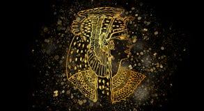 Abstracte oude Egyptische achtergrond, Cleopatra stock illustratie