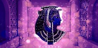 Abstracte oude Egyptische achtergrond, Cleopatra Oostelijke binnenlandse achtergrond met ornamenten Royalty-vrije Stock Afbeeldingen