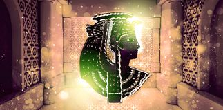 Abstracte oude Egyptische achtergrond, Cleopatra Oostelijke binnenlandse achtergrond met ornamenten Royalty-vrije Stock Foto