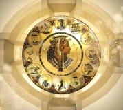 Abstracte oude Egyptische achtergrond, Cleopatra Oostelijke binnenlandse achtergrond met ornamenten Royalty-vrije Stock Fotografie