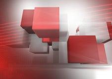 Abstracte overgang met met rode kubussen Stock Fotografie