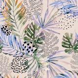 Abstracte palm, het naadloze patroon van het monsterablad stock illustratie