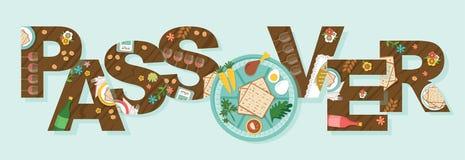 Abstracte Pascha met Seder-plaat in de middles-Vector stock foto