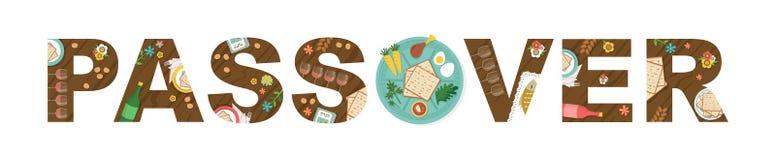 Abstracte Pascha met Seder-plaat in de middles-Vector royalty-vrije stock foto