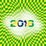 Abstracte patronen van kleurenvlag van Brazilië met inschrijving 2016 Royalty-vrije Stock Foto