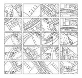 Abstracte patronen zwart-witte reeks met krabbels Vectorachtergrond voor affiche, prentbriefkaar, achtergrond Illustratie met sam stock illustratie