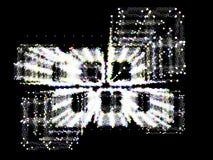 Abstracte perspectiefmeetkunde Structuur van kleurenpunten op blac Stock Fotografie