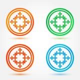 Abstracte pictogrammen geplaatst die van cirkels en kruisen worden gemaakt royalty-vrije illustratie