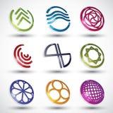 Abstracte pictogrammen van verschillende vormen vectorreeks Stock Foto