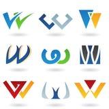 Abstracte pictogrammen voor brief W Royalty-vrije Stock Afbeeldingen