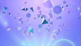 Abstracte piramides en ballen die in de lucht hangen Royalty-vrije Stock Foto