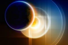Abstracte planeetsteun op grote harde schijf Royalty-vrije Stock Foto