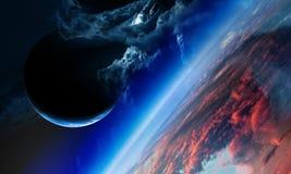 Abstracte planeten en ruimteachtergrond royalty-vrije illustratie