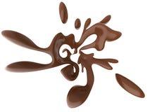 Abstracte plons van vloeibare die chocolade op witte achtergrond wordt geïsoleerd Stock Fotografie