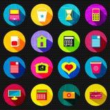Abstracte psychedelische gekleurde pictogrammen met schaduw mooie inzameling stock illustratie