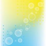 Abstracte puntencirkels op blauwe gele kleuren Stock Foto