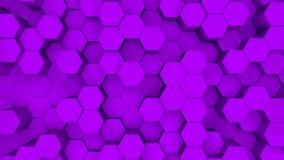 Abstracte purpere hexagon motieachtergrond 3D animatie van purpere zeshoeken die op en neer toenemen stock illustratie