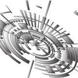 Abstracte radiale die 3 D achtergrond uit geometrische vormen wordt samengesteld stock illustratie