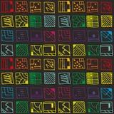 Abstracte rechthoekige vorm in kleur, naadloze patronen Stock Foto