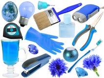 Abstracte reeks blauwe voorwerpen Stock Fotografie