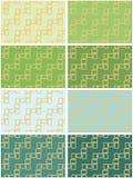 Abstracte reeks van acht naadloze patroontexturen van gouden rechthoekige kaders over licht en donkergroen schaduwenmalplaatje al vector illustratie