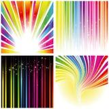Abstracte reeks van de streepachtergrond van de regenboogkleur Stock Foto