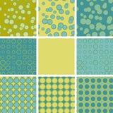 Abstracte reeks van naadloos patroon met blauwgroene cirkelelementen Royalty-vrije Stock Afbeelding