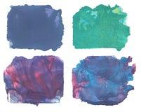 Abstracte reeks van waterverfvlek met plonsen en spatten Royalty-vrije Stock Fotografie