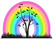 Abstracte regenboog en boom royalty-vrije illustratie