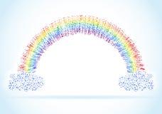 Abstracte regenboog met wolken vectorillustratie Stock Afbeelding