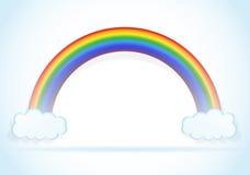 Abstracte regenboog met wolkenvector Stock Afbeeldingen