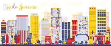 Abstracte Rio de Janeiro-horizon met kleurengebouwen Stock Foto's