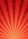 Abstracte rode achtergrond met starburst en halftone patroon Stock Fotografie