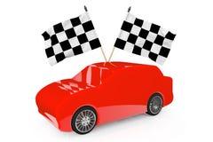 Abstracte Rode Auto met het Rennen van Vlaggen Royalty-vrije Stock Afbeelding