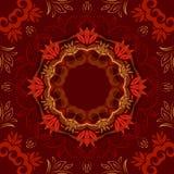 Abstracte rode bloemenachtergrond met rond vectorpatroon Stock Afbeelding