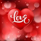 Abstracte rode bokehachtergrond met vlotte realistische hart en Liefdekalligrafie vector illustratie