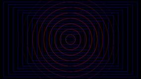 Abstracte rode cirkel en blauwe rechthoekafstraffing op zwarte achtergrond stock illustratie