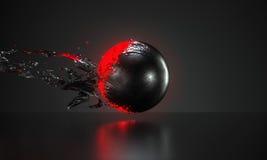 Abstracte rode die bal met weg de schil van de metaalhuid wordt behandeld stock foto