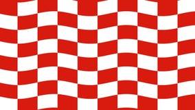 Abstracte rode en witte checkboard golvende vlag stock video