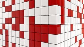 Abstracte rode en witte kubussen Stock Afbeelding
