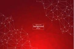 Abstracte Rode Geometrische Veelhoekige molecule en mededeling als achtergrond Verbonden lijnen met punten Concept de wetenschap, stock illustratie