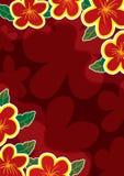 Abstracte Rode Gouden Bloemen Frame_eps Stock Fotografie